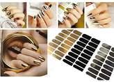 EQLEF® 3 Sheets Nail Art Polish Metallic Foil Sticker Gold Silver black Nail Wrap Glitter