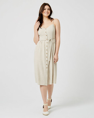 Le Château Linen-like Button Front Midi Dress