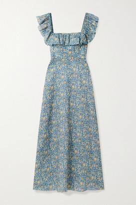 Zimmermann Carnaby Ruffled Floral-print Linen Maxi Dress - Light blue