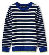 Lands' End Boys Stripe Block Crewneck Sweater-White/Blue Stripe