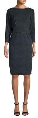 Donna Karan Raglan Sleeve Faux Leather Trim Sheath Dress