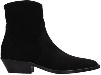 Julie Dee Texan Ankle Boots In Black Suede