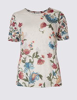 Per Una Burnout Floral Print Short Sleeve T-Shirt