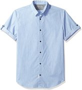 Calvin Klein Jeans Men's Short Sleeve Dot Dobby Melange Button Down Shirt