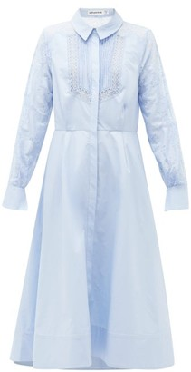 Self-Portrait Lace-panel Cotton Midi Shirt Dress - Light Blue