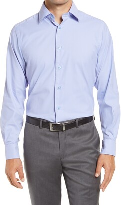 David Donahue Trim Fit Performance Stretch Check Dress Shirt