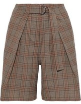 Tibi Pleated Checked Woven Shorts