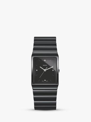 Rado R21700702 Unisex Ceramica Diamond Ceramic Bracelet Strap Watch, Black