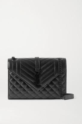 Saint Laurent Envelope Medium Quilted Textured-leather Shoulder Bag - Black
