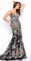 Mac Duggal Scoop Back Embroidered Butterfly Evening Gown