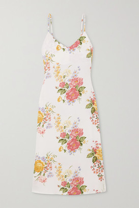 Reformation Net Sustain Boston Floral-print Crepe Midi Dress - Ecru