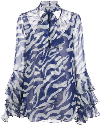 Prabal Gurung Ruffled-Cuffs Silk Blouse