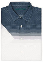 Perry Ellis Slim Fit Short Sleeve Mini Dot Print Shirt