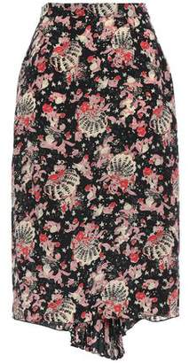 Anna Sui Draped Pleated Silk Pencil Skirt
