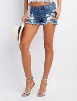 Charlotte Russe Machine Jeans Embroidered Cut-Off Denim Shorts