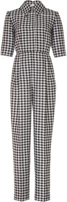 Emilia Wickstead Short Sleeve Gingham Jumpsuit