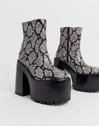 Jeffrey Campbell Deadz super platform boot in snake print leather-Grey