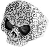 King Baby Studio Men's 925 Sterling Silver Baroque Skull Ring - Size T
