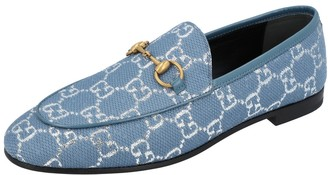 Gucci Blue/Silver GG Canvas New Jordaan Loafers EU 36