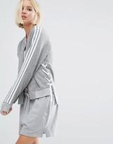 adidas Lace Up Three Stripe Bomber Jacket