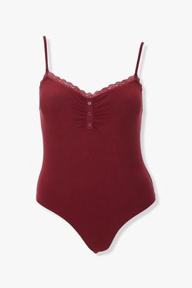 Forever 21 Plus Size Lace-Trim Cami Bodysuit