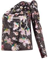 Self-Portrait One-shoulder Sequin-floral Velvet Top - Womens - Black Multi