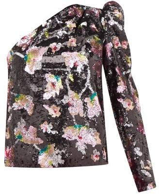 Self-Portrait One-shoulder Sequin-floral Velvet Top - Black Multi