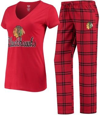 Women's Concepts Sport Red Chicago Blackhawks Troupe V-Neck T-Shirt & Pants Sleep Set