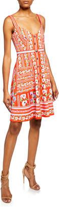 Saloni Fara Floral-Print V-Neck Sleeveless Short-B Dress