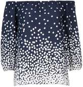 Wallis Navy Blue Polka Dot Bardot Top