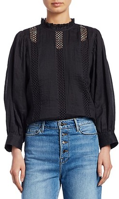 Frame Lace Ruffle Collar Top
