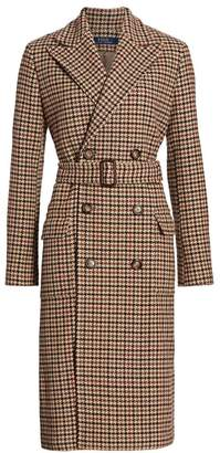 Polo Ralph Lauren Houndstooth Double-Breasted Wool & Nylon Trench Coat