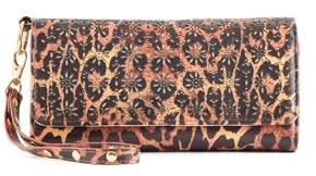 Metallic Sky Lasercut Leopard Wallet