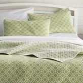 Crate & Barrel Raj Reversible Green Quilts and Pillow Shams