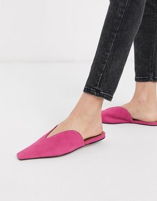 Asos DESIGN Landing suede mules in pink