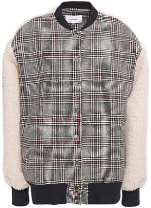 Carven Faux Shearling-paneled Prince Of Wales Checked Wool-blend Bomber Jacket