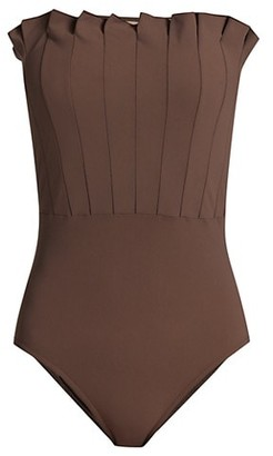 Karla Colletto Swim Lana Pleated Bandeau One-Piece Swimsuit