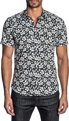 Jared Lang Regular Fit Floral Short Sleeve Button-Up Shirt