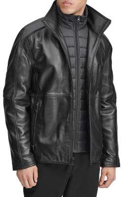 Andrew Marc Hartz Quilted Bib Leather Jacket