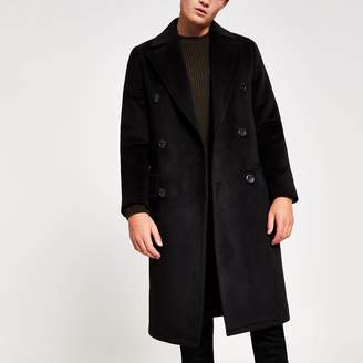 River Island Mens Black double breasted overcoat