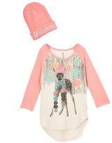 Beautees Pink Deer Raglan Tee & Beanie - Girls