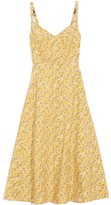 R 13 Corset Midi Dress in Yellow Floral