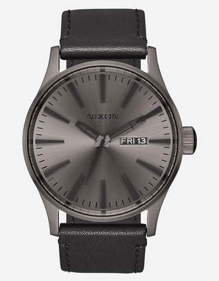Nixon Sentry Leather Gunmetal Watch