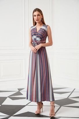 Jenerique Wrap Maxi Summer Dress in Rainbow Aztec print