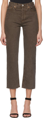 RE/DONE Brown High Rise Stove Pipe Jeans