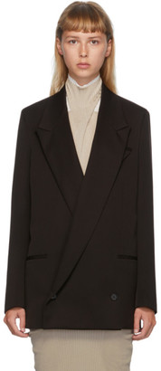 Bottega Veneta Brown Double-Breasted Oversized Blazer