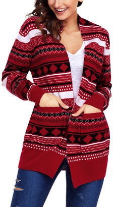 Aleumdr Womens Long Sleeves V Neck Color Block Printed Christmas Knitted Lightweight Ribbed Cuffs Cardigan Sweater Red Large