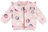 Kenzo Floral Pompom Zip Jacket, Light Pink, Size 12-18M