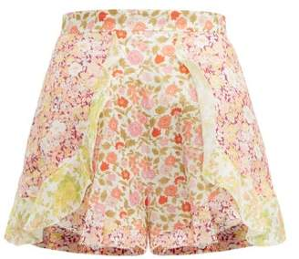 Zimmermann Goldie Ruffled Floral-print Linen Shorts - Womens - Pale Yellow