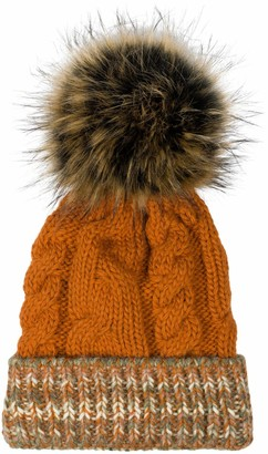 styleBREAKER Unisex Unicoloured Knit Bobble Cap Multicoloured Patterned Waistband Fleece Lining Winter Fur Bobble Cap 04024180